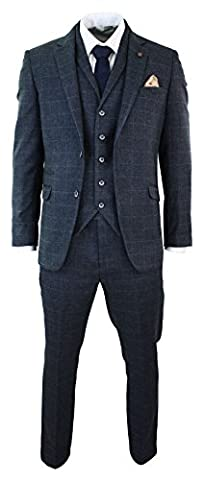 Mens Navy Blue Check Herringbone Tweed Vintage Tailored Fit 3