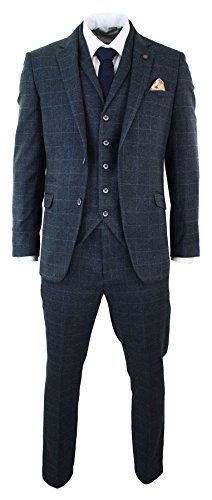 Mens-Navy-Blue-Check-Herringbone-Tweed-Vintage-Tailored-Fit-3-Piece-Suit-Smart
