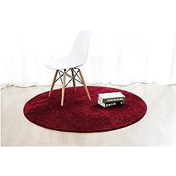 Alfombra redonda en el dormitorio Salón de la mesa de café Bedside Inicio Sólido ordenador de la computadora silla (pelo largo) ( Color : Rojo , Tamaño : Diameter 180cm )