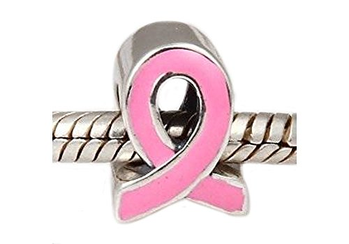 SpangleBead Charm Brustkrebs-Schleife, Sterling-Silber 925 für Pandora / Chamilia Armbänder Armbänder