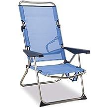 Solenny - Silla plegable de playa de aluminio, respaldo alto, 4 posiciones y asas
