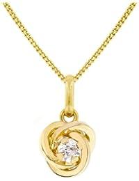 Carissima Gold Damen-Kette mit Anhänger 9ct Cubic Zirconia Knot Swirl Pendant on Chain 375 Gelbgold Zirkonia weiß Rundschliff 46 cm - 1.44.6624