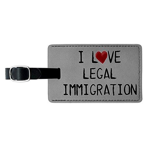 I love gesetzlichen Einwanderung geschrieben auf Papier Leder Gepäck ID Tag Koffer
