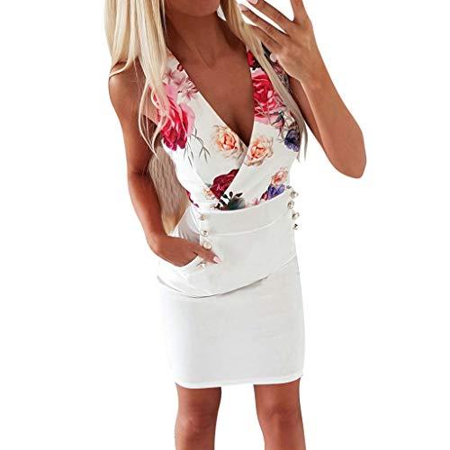 Kleidung Schuhe & Accessoires - Kleid Damen Sommer Mode Kleid Sexy V-Ausschnitt Rose Printed Button Kleid Blau, Weiß, S-XL ()