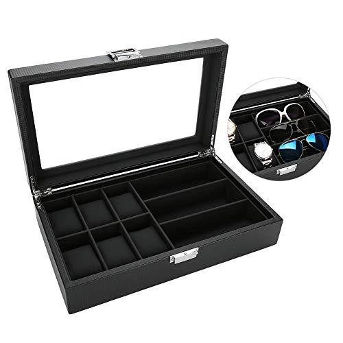 PU-Leder-Uhren-Brillenhalter, Leder für 6 Uhren und 3 Brillen & Sonnenbrillen Box Luxus Karbonfaser Display Case Aufbewahrung