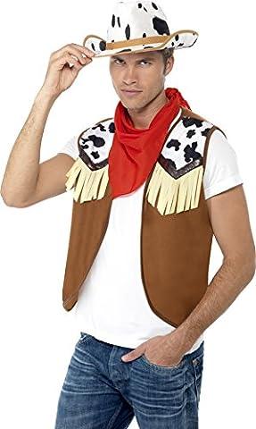 Smiffys Déguisement Homme, Kit de cowboy du Far West, avec gilet, foulard et chapeau, Taille unique, 45234