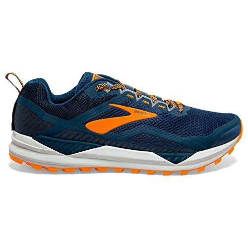 Brooks Cascadia 14, Zapatillas para Correr para Hombre, Poseidon/Orange/Grey, 42.5 EU