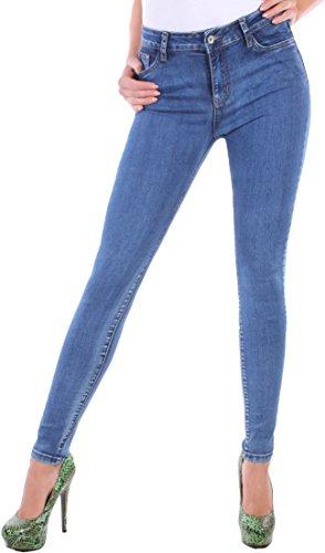 BD Stretch Jeans Damen Hose High Waist Hochschnitt Röhrenjeans blau...