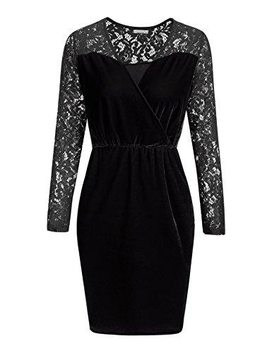 Meaneor Damen Langarm Spitzenkleid Samtkleid Velvet Kleid mit Spitze V-Ausschnitt Abendkleid Vintage...