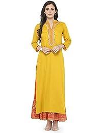 Varanga Women's Yellow Rayon Embroidered Kurta With Orange Printed Skirt