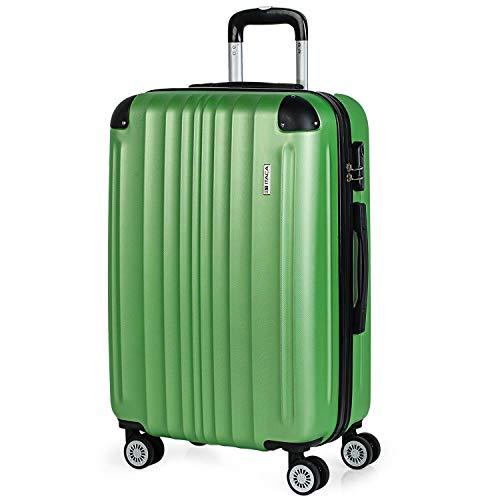 ITACA - Valigia trolley 60 cm taglia media ABS. Rigida, resistente, robusta e leggera. Manico telescopico, 2 maniglie, 4 ruote doppie 771060, Color Verde