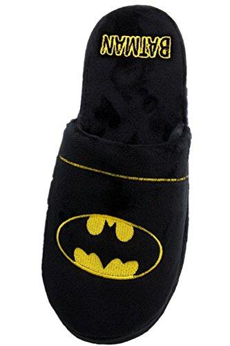 Batman Officiel DC Comics Warner Bros Hommes Peluche Molle Feuillet Sur Les Chaussons Mule Noir