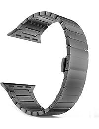 Apple Watch Banda, W/hebilla de metal de acero inoxidable Sanday® Apple reloj correa proceso de pulido único negocio de repuesto iWatch correa de la pulsera con cierre de acero plegable mariposa hebilla para Apple reloj (42mm), color negro