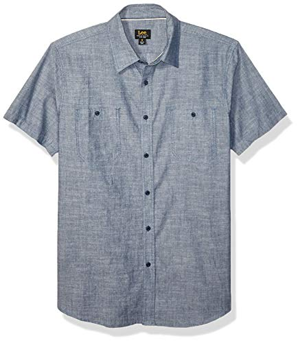 Lee Herren Short Sleeve Dress Shirt Camp Regular Big Tall Button Down Hemd, Benjamin Indigo Blue, X-Groß -