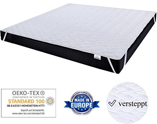 Matratzenschoner 180x200cm für Doppelbetten zum Schutz der Matratze. 60°C waschbar für mehr Hygiene im Bett. Gestepptes Unterbett auch für hohe Matratzen, Boxspringbetten u. Topper – PHD Primera
