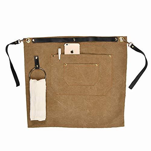 TUYU Schürze aus gewachstem Segeltuch mit 2 Taschen, verstellbare Lederschürze für Damen und Herren TYDWQ92 -
