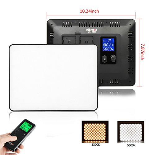 VILTROX® VL-200T LED Videoleuchte Dimmbar Fotoleuchte Fotostudio Licht für SLR und DSLR Kameras, 3300K-5600k Farbtemperatur 30W/ CRI95 (ohne Batterie)
