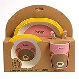 ORNAMI Servizio in bambù 5-Pezzi per Bambini, Design Orso – Il Servizio per Bambini Include Un Piatto in bambù, Posate, Una Ciotola e Un Bicchiere - Ecologico, Senza BPA e Sicuro in lavastoviglie