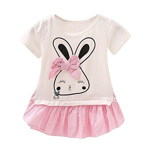 YWLINK Kleinkind MäDchen Süß Kaninchen Cartoon Bowknot Gestreift Patchwork Kurze ÄRmel Sweatshirt Kleiden (Rosa,Größe: 6M)