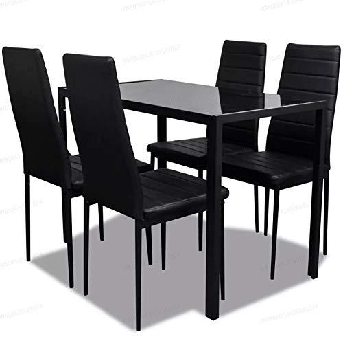 Oakome vidaXL Tavolo Cucina Set Tavolo da Pranzo Quadrato con 4 Sedie di  Moda Ecopelle