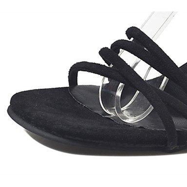 LvYuan Da donna Sandali PU (Poliuretano) Estate Footing Più materiali Basso Nero Grigio 7,5 - 9,5 cm Black