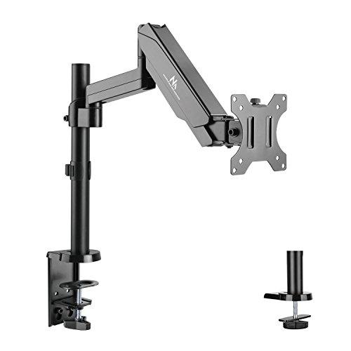 """Maclean MC-775 Monitorhalter mit Gasfeder 17-32"""" Tischhalterung Monitorarm VESA 75x75 100x100, Schwarz"""