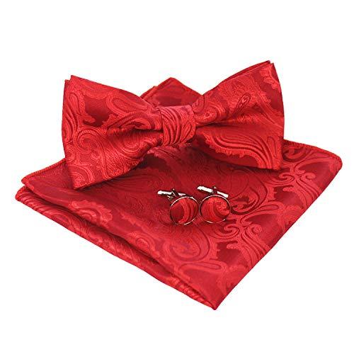 JEMYGINS Paisley Fliege und Einstecktuch mit Manschettenknöpfe Sets für Herren, Rot, M - Paisley-stoff Rot,