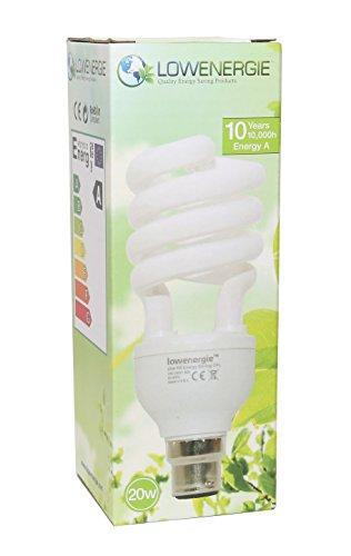 20 W (= 110 W) Energiesparend Spirale CFL 6500 K Day Weiß Farbe Leuchtmittel B22, Bajonettsockel, Stick, 10 Jahre, 10.000 Stunden Kompaktleuchtstofflampe von Lowenergie - Kompakt-leuchtstofflampen-dimmer-schalter