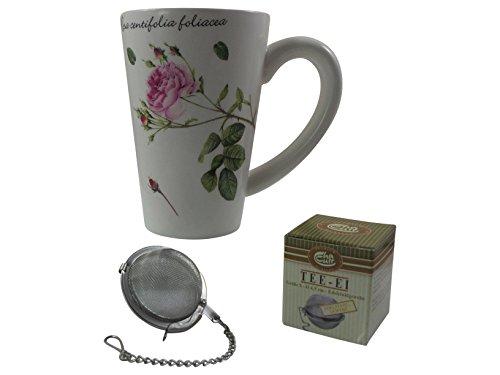 Set Tasse von Jameson & Tailor mit Teesieb von Cha Cult Design-Becher mit edelen klassischen Rosen aus Keramik