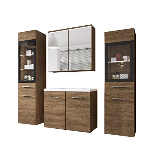 Badmöbel Set Udine II mit Waschbecken und Siphon, Modernes Badezimmer, Komplett, Spiegelschrank, Waschtisch, Hochschrank, Möbel (mit weißer LED Beleuchtung, Lefkas)