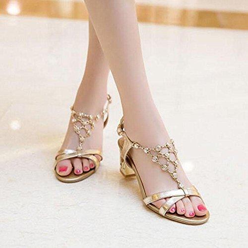 SHINIK Damen Open Toe Pumps 2017 Frühling Sommer New Diamond Rough Ferse Wort Wölbung Mode Ältere Sandalen Arbeit Sandalen Gold