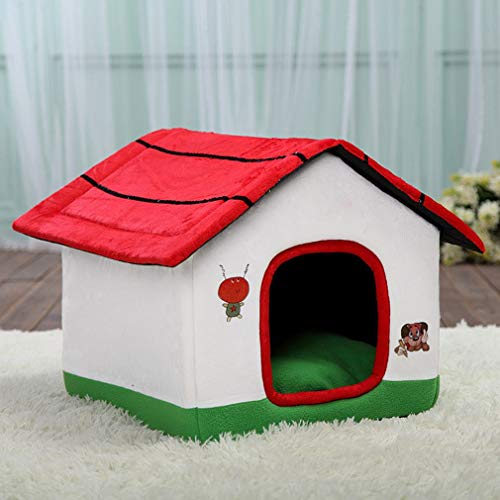 CY Mode Hund Baby Biss-Resistente Hundehütte Abnehmbare Wäsche Hund Haus Rot Kleines Haus,Ein