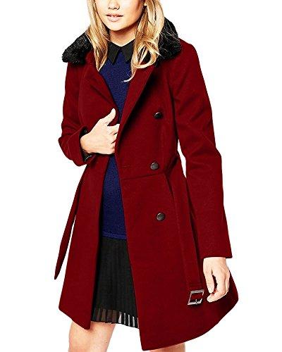 LoveURAPpearance Velvet, Fur Designer Maroon Long Coat for Girl's & Women's (LU2150584)