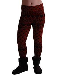 EyeCatchClothing - warme Damen Strick Strech kuschel Leggings mit Herz Muster, Einheitsgröße