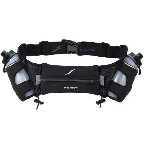 Fitletic HD08 - Cinturón hidratación con portabotella, color negro, Talla L/XL
