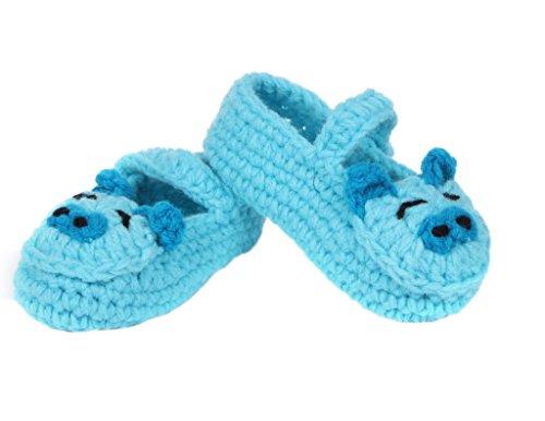 Smile YKK 1 Paar One Size Strick Schuh Baby Unisex Liebe Muster Strickschuh 11cm Hellgrün Blüte Schwein Blau
