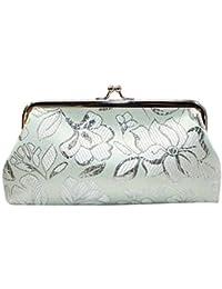 Luckycat Monedero con Bordado Motivo de Flores étnicas y floración diseño Vintage para Mujeres Cartera de