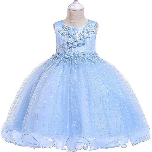 YARUMD Mädchen Kleid Tüll Prinzessin Ärmellos Tanzbekleidung Blumen Lang Rock mit Schmetterling Tütü für Kostüm Cosplay Party Brautkleider Prinzessin Kleid 4-15Jahre,Blue,140