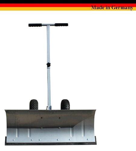 Schnee-Schieber / Ein-Achser auf Rädern / Silber / Aus verzinktem, rostfreiem Stahl / Mehrfach verstellbar / Gummi-Bereift