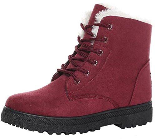 DADAWEN Damen Schneestiefel Wasserdicht Winterschuhe Wildleder Boots-Rot 40 (Wildleder Schnee Stiefel)