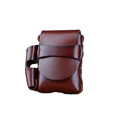 Boshiho Neutral Zigarettenhülle für Zigarettenpackungen hochwertigem Leder und Feuerzeug Tasche (Kastanienbraun) -