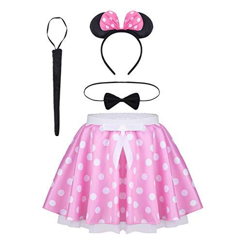 Polka Dots Print + Fliege + Haarreifen mit Maus Ohren und Schleife + Schwanz Kleidung Set Karneval Weihnachten Kostüm Party Outfit Rosa weiß gepunktet 152-164 ()
