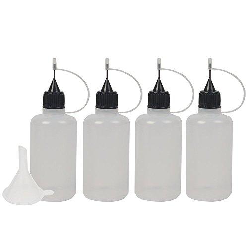 imisno DIY Quilling Werkzeug Präzise Spitze leer Applikator Kleber Flasche, 1,7Unze/LSF15(4Stück Flasche und 1Trichter)