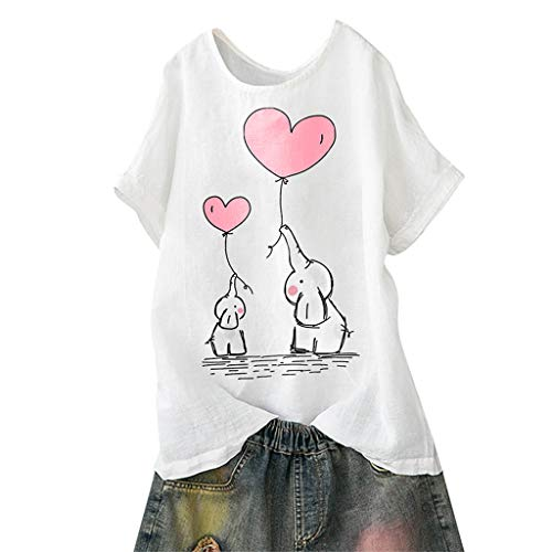 8167b400d TUDUZ Blusas Mujer Manga Corta Verano Camisas Camiseta de Algodón y Lino  con Estampado de Dibujos Animados (Blanco.e, M)