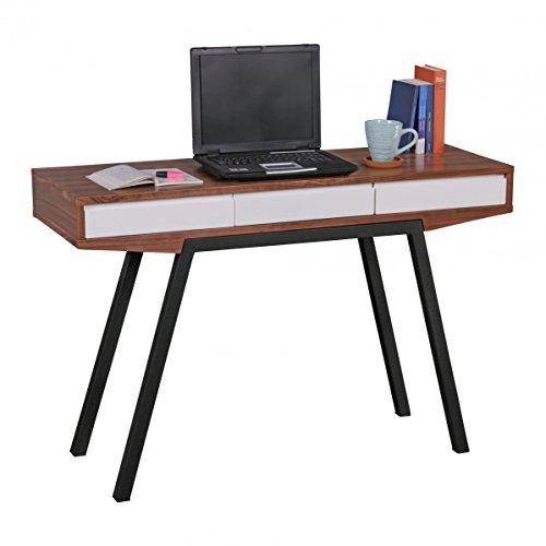Wohnling Schreibtisch Retro Walnuss/weiß 3 Schubladen 120 x 80 x 40 cm | Laptoptisch mit Metallbeinen | Design Konsolentisch & Anrichte (Weiße Tisch Konsole Schmale)