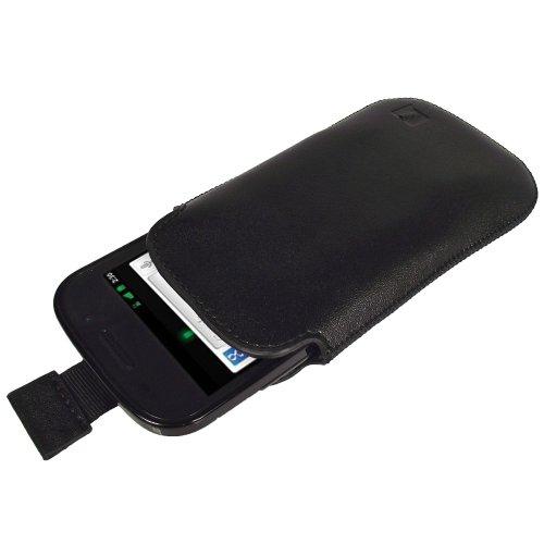 Foto igadgitz Nero Vera Pelle Pouch Custodia Case Cover Protezione per Google Nexus S Android Smartphone Mobile Telefono