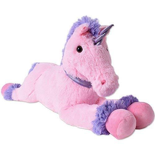TE-Trend XXL Unicorno Pupazzo peluche animale cavallo peluche sdraiato 80cm ROSA VIOLA CORNO COLLARE dondolo
