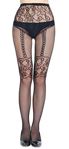 HO-Ersoka Damen Netz-Strumpfhose eingewebte Straps-Bänder schwarz onesize