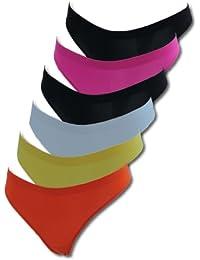6er Pack Damen Strings mit Triblemotiv mehrfarbig PE6809