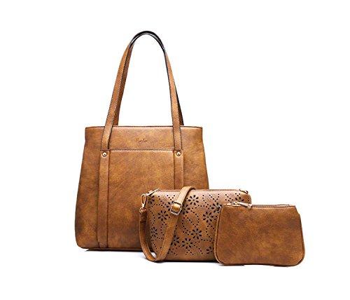 Di Grazia Women\'s Italian Set of 3 Combo Bag, Shoulder Handbag, Satchel & Coin Pouch (Brown, Brown-Square-3in1-Combo-Bag)